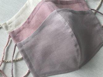 リネン立体マスク★モーヴ★(ノーズワイヤーポケット、フィルターポケット付き) 大人Mサイズ 1枚の画像