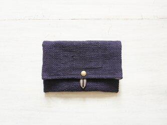 裂き織りのフリーポーチ A5  濃紺の画像