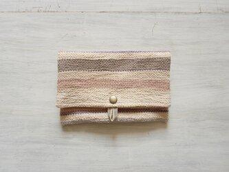 裂き織りのフリーポーチ A5  淡い色の画像