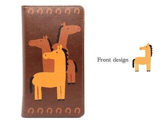 仲のよい3匹の馬 帯なし手帳型スマホケース ブランド/リトルアニマル キャラクター/グッズ 携帯 IPHONの画像