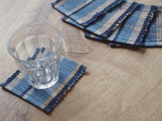 青い縞・かわいいサイズの裂き織りコースター(単品) 木綿・手織りの画像