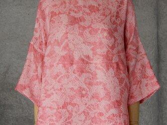 着物リメイク 絞りのチュニックブラウス/フリーサイズ/ピンクの画像