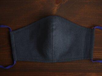 【立体マスク】リネンマスク 2重仕様 夏マスク 夏用 抗菌 防臭 速乾【ネコポス可】/鉄紺(てつこん) z021g-ttk2の画像