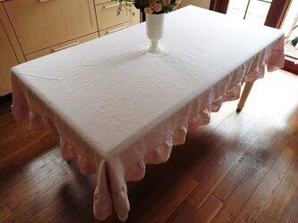 フレンチリネン♪ダスティピンクのフリル付きテーブルクロス  200cm×130cmの画像
