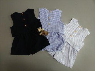 紺色 ベビーセットアップ 80サイズ ベスト&ショートパンツかぼちゃパンツ 播州織 綿素材の画像