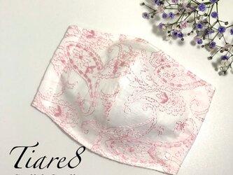 【やや小さめ】美しい刺繍が織りなす「ペイズリー柄のおしゃれなピンクマスク」 涼しく快適な夏向き立体マスクの画像