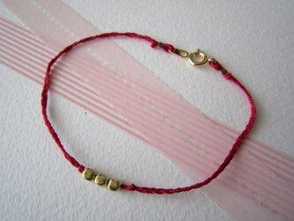 Silk yarn bracelet☆(赤)の画像