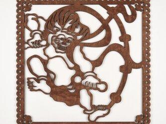 ビッグウッドフレーム「雷神」(木の壁飾り)の画像