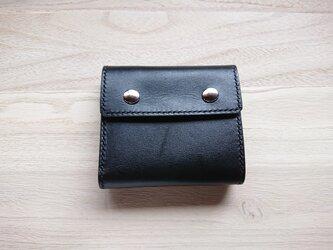 *受注生産* 三つ折り財布#5 栃木レザー/ピアノレザー(黒)&ピッグスエード(黒)の画像