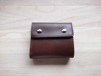 *受注生産* 三つ折り財布#5 栃木レザー/ピアノレザー(焦茶)&ピッグスエード(焦茶)の画像