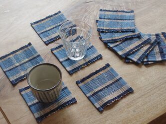 青い縞・かわいいサイズの裂き織りコースター5枚セット 木綿・手織りの画像