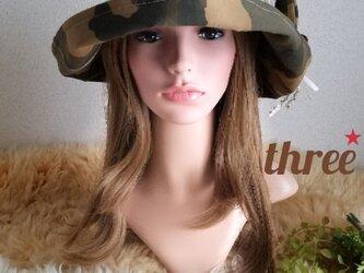 ★★ゆったり★ギャザーフリル 帽子★ 迷彩×cottonリネン★華やか★サイズ調整出来ます★の画像