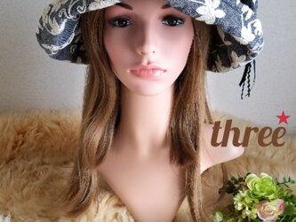 ★★ゆったり★ギャザーフリル 帽子★ネップ デニム×刺繍ダンガリー★華やか★サイズ調整出来ます★の画像
