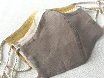 リネン立体マスク★モカ★(ノーズワイヤーポケット、フィルターポケット付き) 大人Mサイズ 1枚の画像