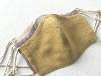 リネン立体マスク★マスタード★(ノーズワイヤーポケット、フィルターポケット付き) 大人Mサイズ 1枚の画像