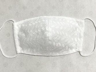 綿ローン,リーフ柄刺繍 マスクの画像