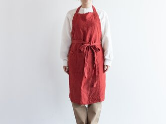 TE-001S [日本製品染め]リネン シェフエプロン(ストライプレッド)teintの画像