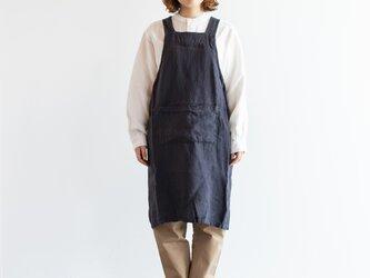 TE-003S [日本製品染め]リネン プルオーバーエプロン(ストライププラムグレー)teintの画像