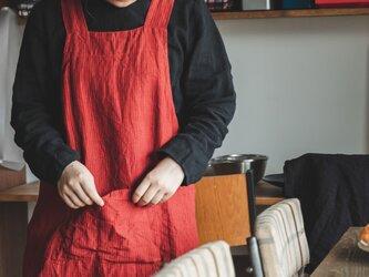 teint TE-003S [日本製品染め]リネン プルオーバーエプロン(ストライプレッド)の画像