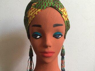 リバーシブルなアフリカンヘアターバンの画像