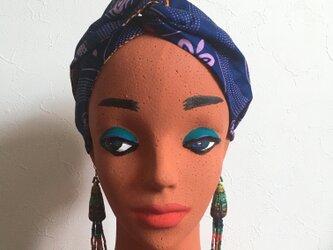 リバーシブルなアフリカンヘアターバン(ムラサキ)の画像