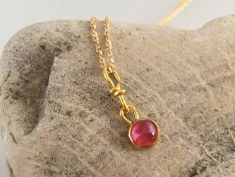K24 Pure Gold+Hot Pink Spinel◆純金 ピンクスピネルペンダントトップの画像