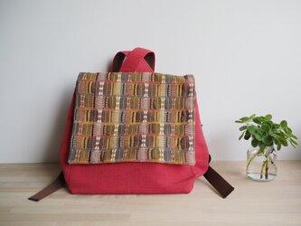 【sakaiazuki様専用受注制作】 茶系変わり織りとレンガ色の帯バッグ リュック型の画像