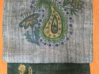 ポップなペイズリー柄の名古屋帯の画像