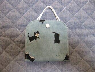 マスク仮置きケース《黒猫*ブルーグレー》の画像