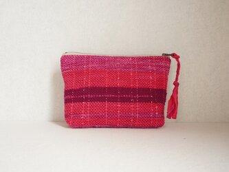 裂き織りのポーチ ピンク~紫の画像