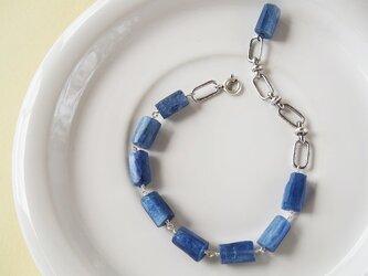 送料無料 カイヤナイトとヴィンテージチェーンのブレスレットの画像