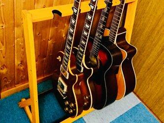 手作り木工 ギタースタンド(ライトオークカラー)5本掛け 組み立て済みの画像