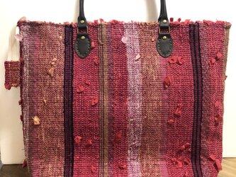 手織りトートバッグ 裂織りの画像