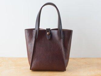 日本製牛革手縫いのボタントートバッグ  /  チョコの画像