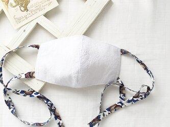 布マスク 立体 コットンリネン リバティプリント リボン タイプ / ブルーの画像