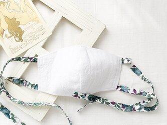 布マスク 立体 コットンリネン リバティプリント リボン タイプ / グリーンの画像