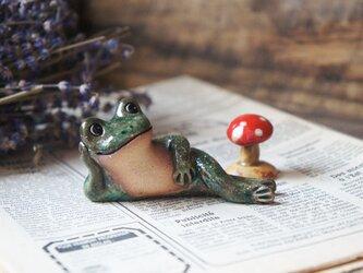 陶器【カエルとキノコ】cの画像