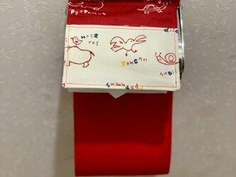 赤トイレットペーパーホルダーの画像