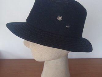 デニム風麻の帽子の画像