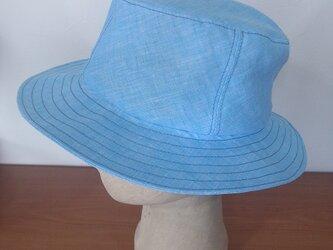 水色麻の帽子の画像