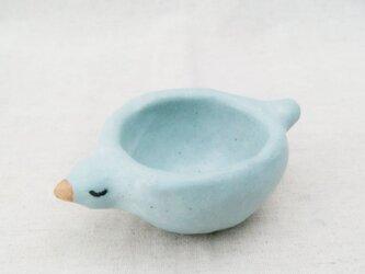 青い小鳥皿の画像