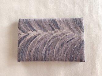 絹手染カード入れ(モクモク・紫茶味グレー)の画像