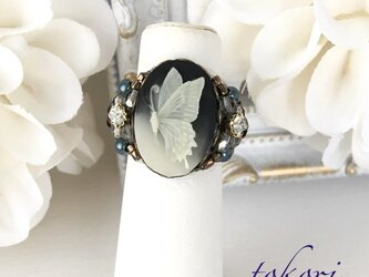 アンティーク調カメオ指輪 【バタフライ•ブラック】の画像