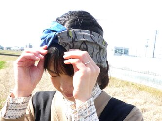 ☆SALE☆久留米絣のツイストターバンの画像