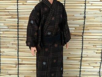 「変形絣文様の浴衣…焦茶」30cm男子ドール着物の画像