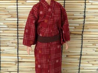 「変形絣文様の浴衣…赤」30cm男子ドール着物の画像