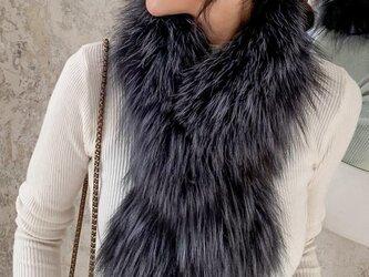 ¶ new antique fur ¶ シルバーフォックススリット入り編み込みマフラーの画像