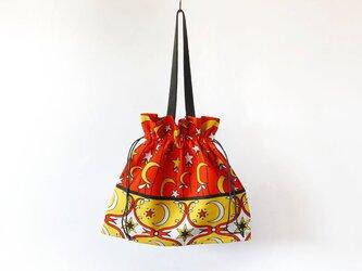 月と星の巾着バッグ 大きなサイズ / アフリカ布 / エコバッグの画像