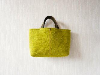 裂き織りのバッグ Mサイズ横長 グリーンティの画像