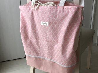 洗える!リュックになるエコバッグ【モロッカン】ピンクの画像